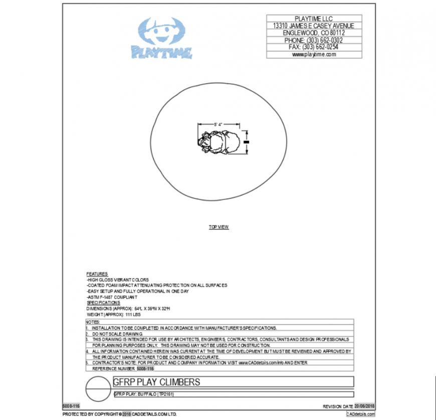 Creative buffalo top view cad block design dwg file