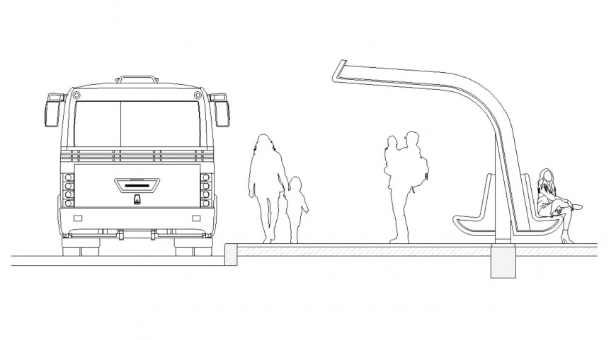 Creative bus stop shelter auto-cad drawing details dwg file