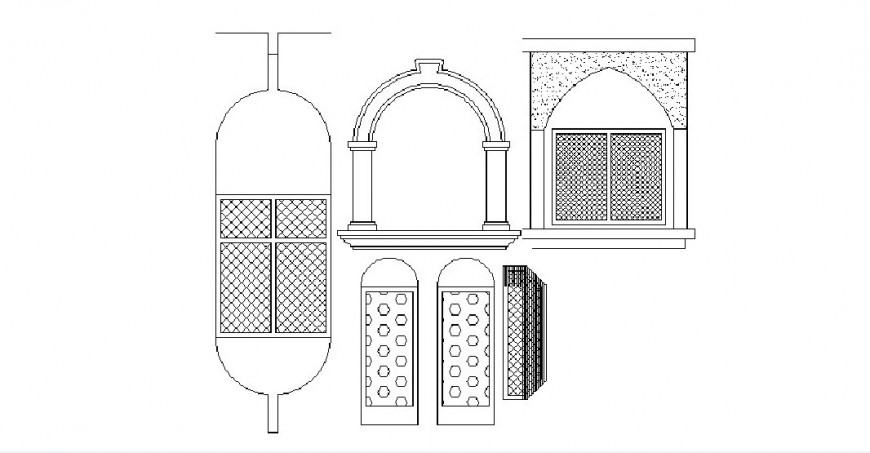 Creative classic window elevation blocks cad drawing details dwg file