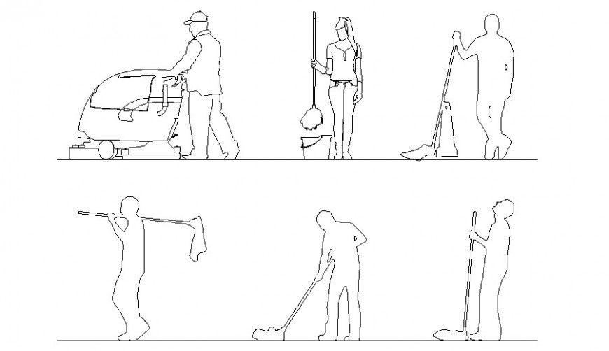 Creative cleaning people act blocks cad drawing details dwg file