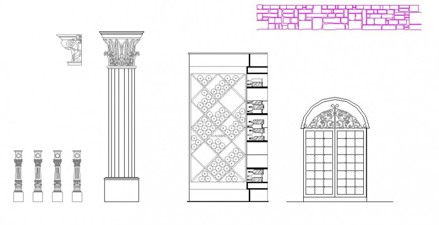 Creative columns and interior blocks cad drawing details dwg file