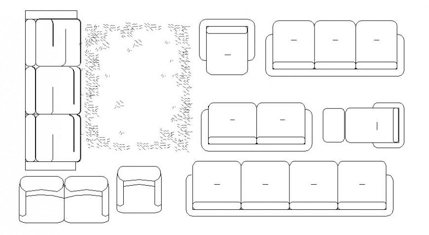 Creative common sofa set elevation blocks cad drawing details dwg file