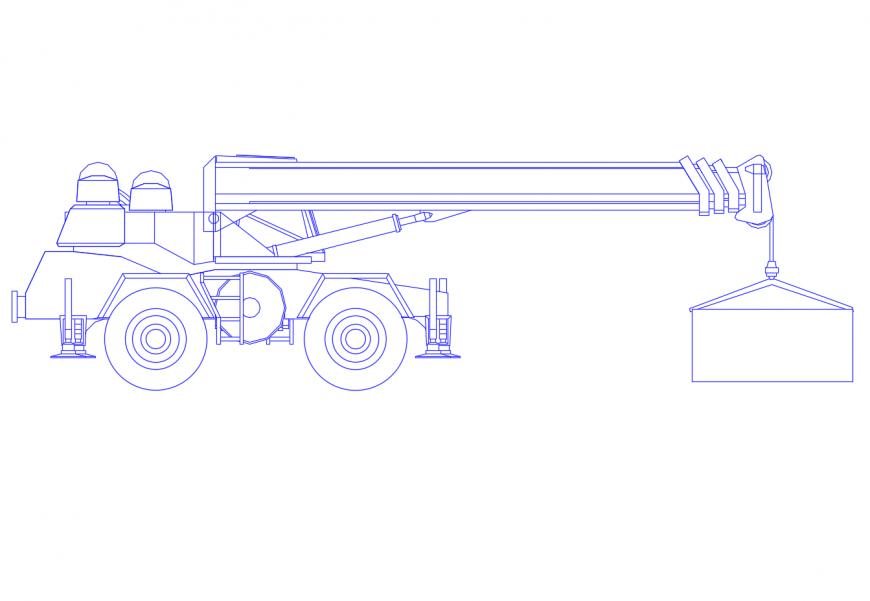 Creative crane side elevation cad drawing details dwg file