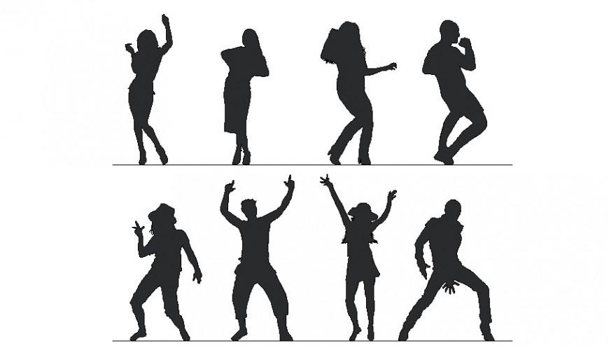 Creative dancing people blocks cad drawing details dwg file