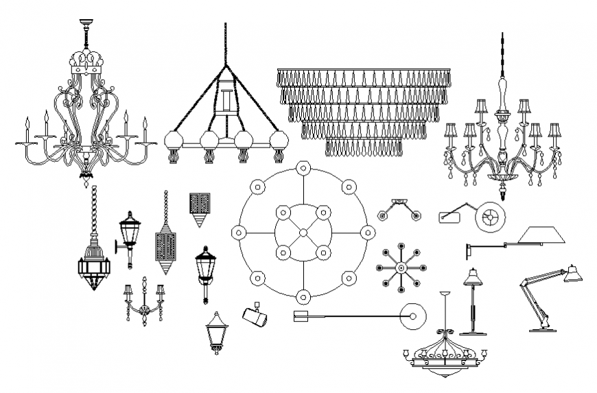 Creative decorative lamps and chandeliers blocks cad drawing details dwg file