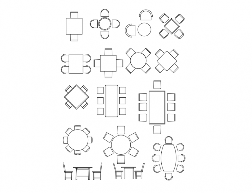 Creative dining area dining table sets cad block design dwg file