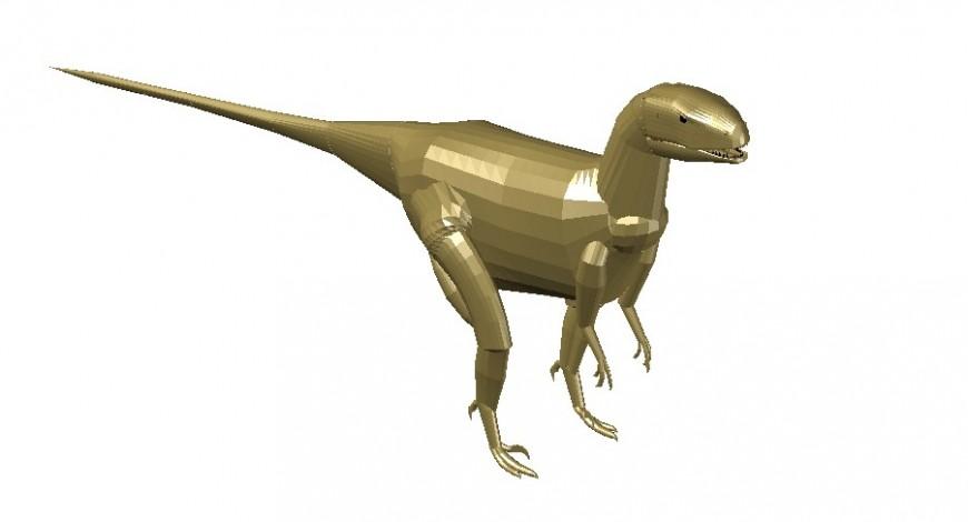 Creative dinosaur 3d elevation block cad drawing details dwg file