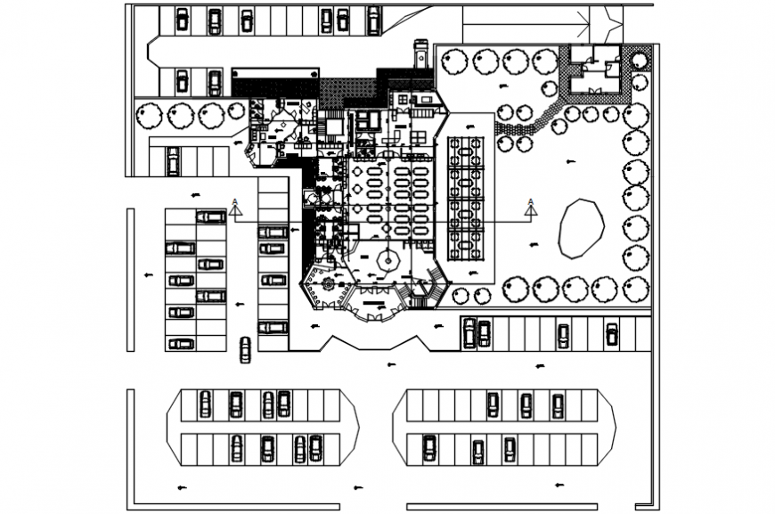 Creative distribution layout plan details of restaurant dwg file