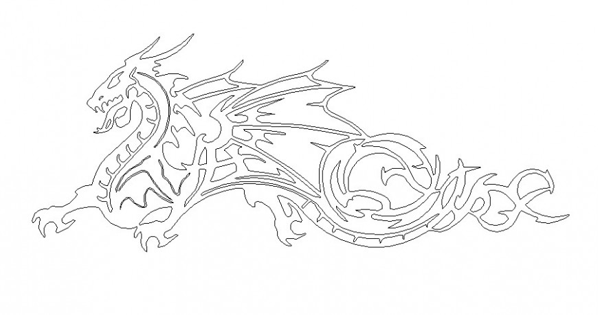 Creative dragon 2d elevation block cad drawing details dwg file
