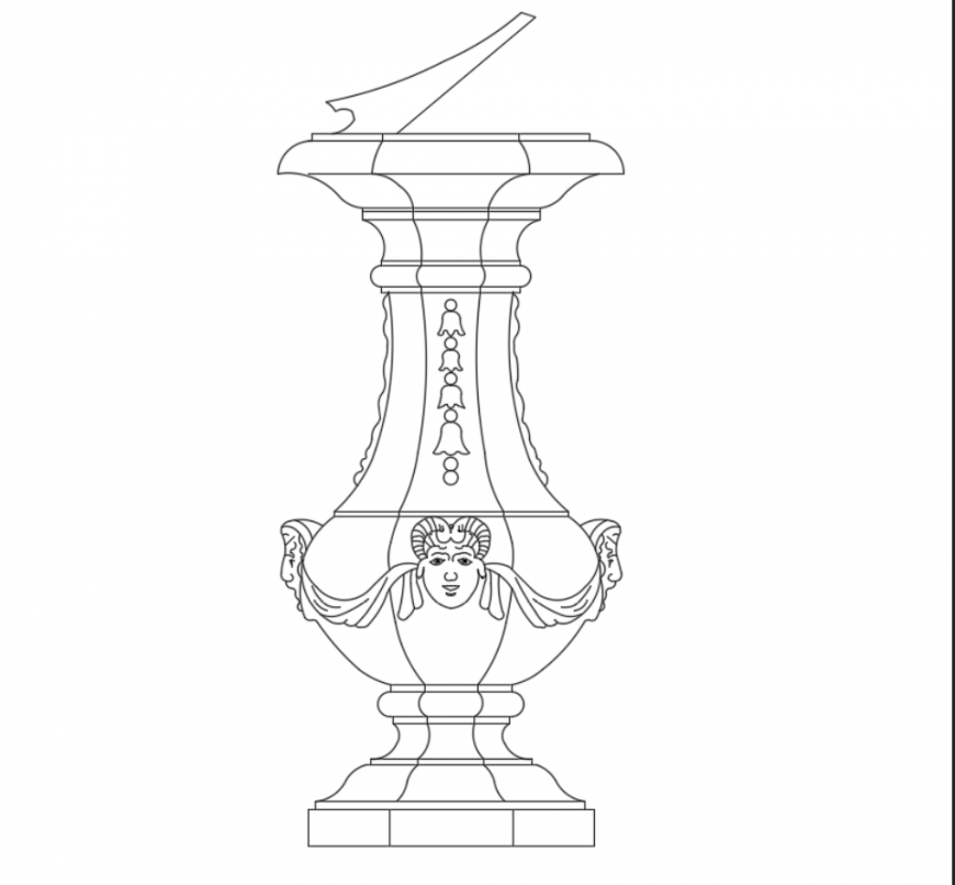 Creative garden fountain front view cad drawing dwg file