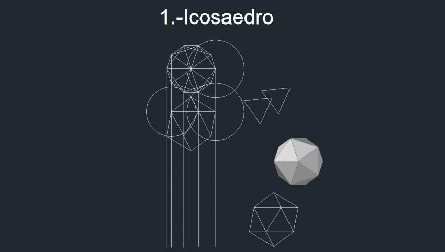 Creative geometric figures 3d blocks cad drawing details dwg file