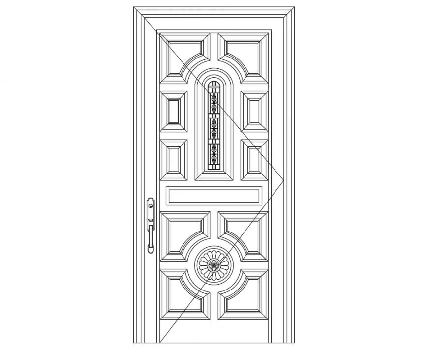 Creative house door front elevation design cad block details dwg file