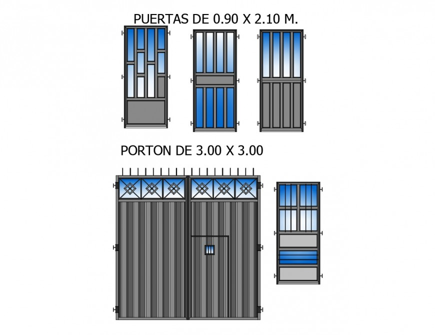 Creative house doors and gate elevation blocks cad drawing details dwg file