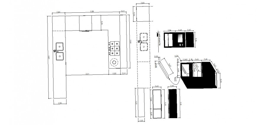 Creative house kitchen layout plan and auto-cad drawing details dwg file
