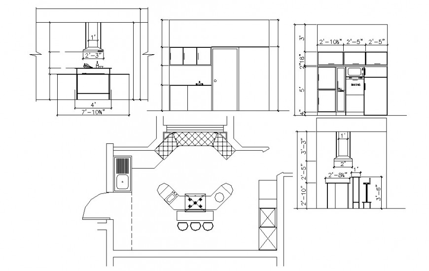 Creative kitchen sections and top view layout plan cad drawing details dwg file