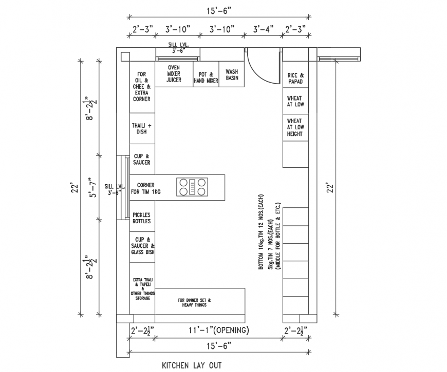 Creative kitchen top view layout plan cad drawing details for house dwg file