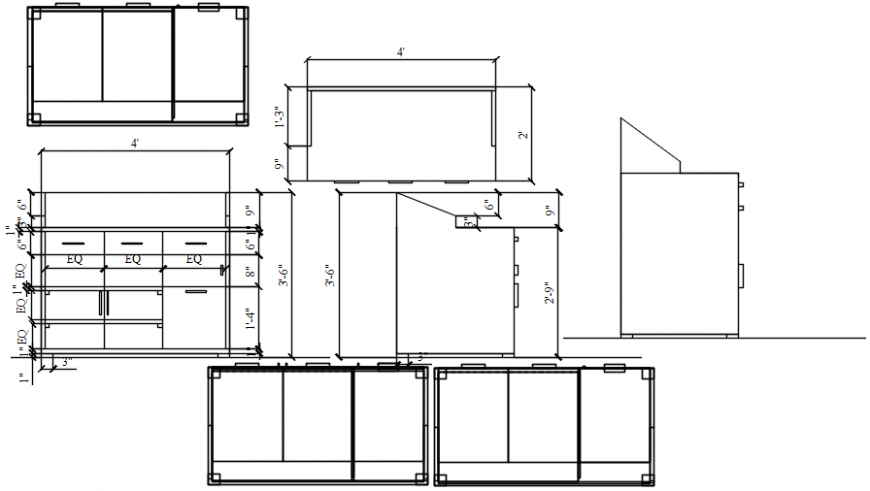 Creative long wooden cabinet elevation drawing details dwg file
