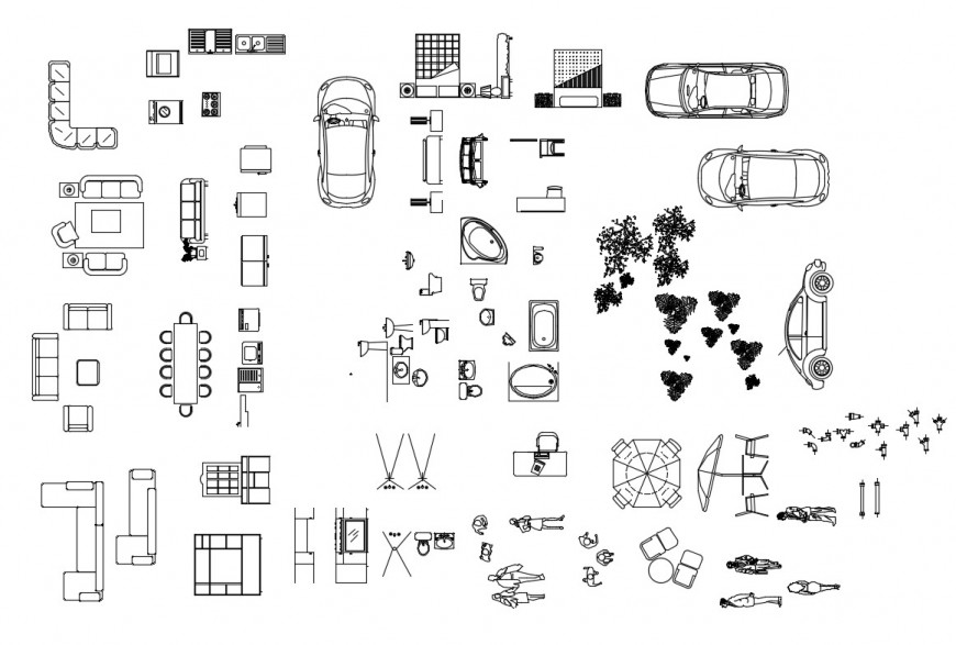Creative miscellaneous household blocks cad drawing details dwg file