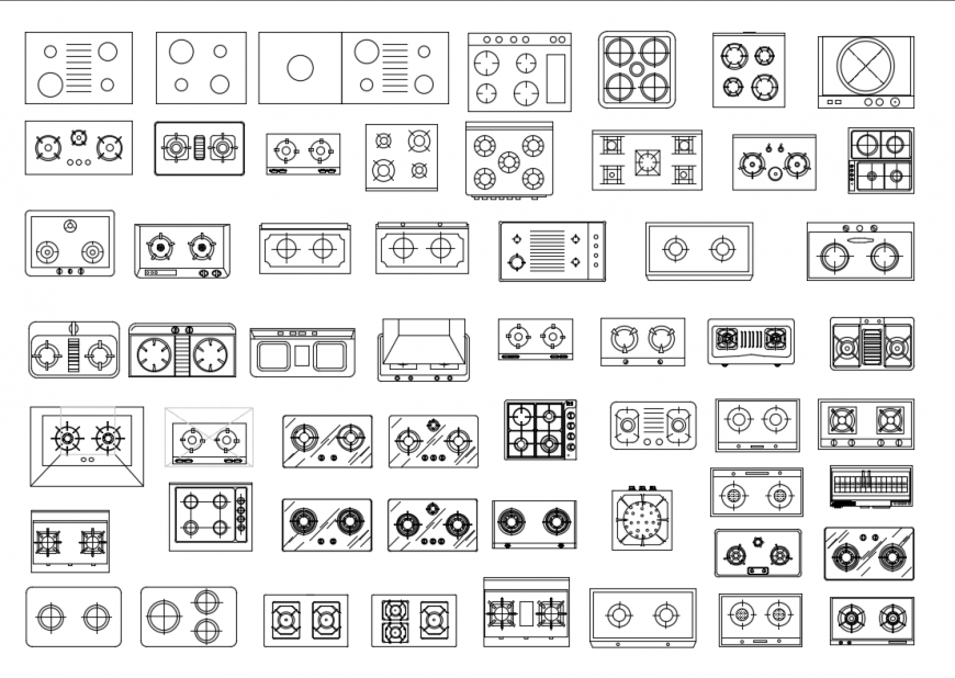 Creative multiple cook top gas stoves cad blocks design dwg file
