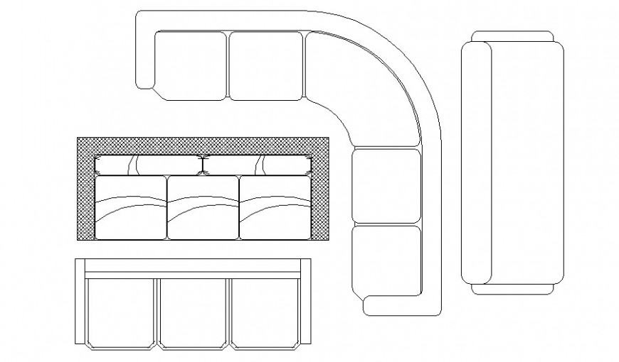 Creative multiple modern sofa set blocks cad drawing details dwg file