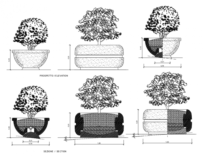 Creative multiple tree planters for garden cad block details dwg file