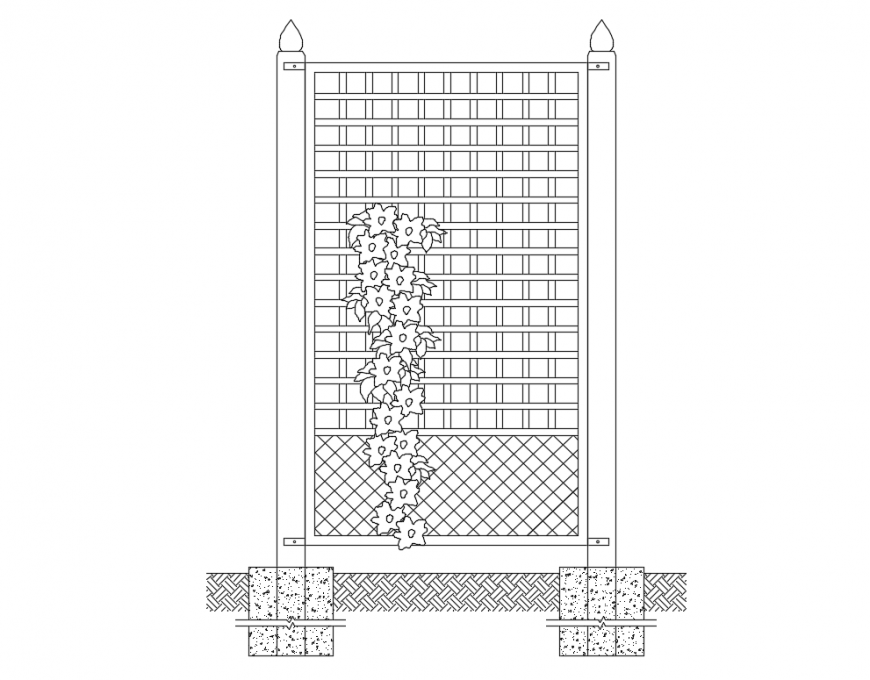 Creative palliera planter front elevation cad drawing detail dwg file