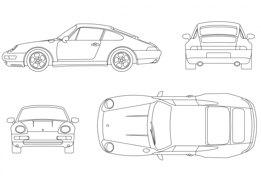 Creative Porsche cars elevations cad drawing details dwg file