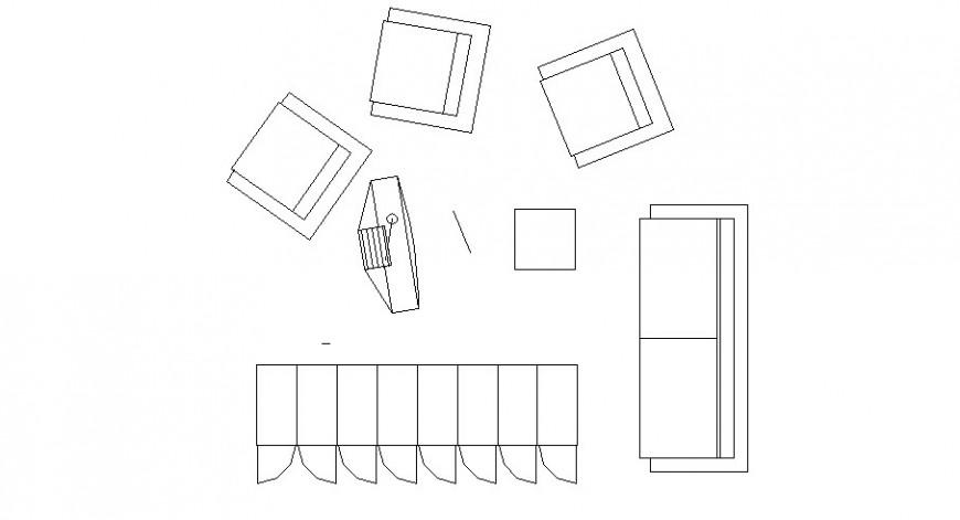 Creative simple furniture blocks cad drawing details dwg file