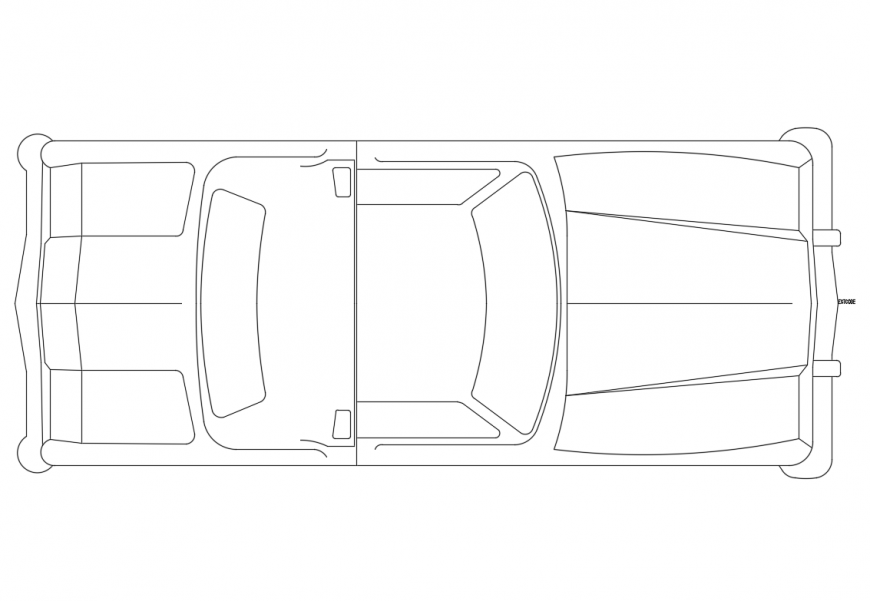 Creative small family car roof view elevation cad block details dwg file