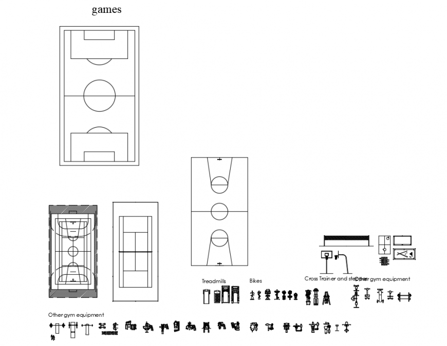 Creative sports ground blocks and gym equipment blocks cad drawing details dwg file