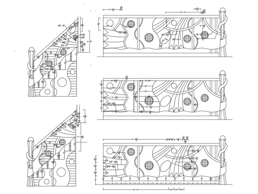 Creative staircase railing elevation blocks cad drawing details dwg file