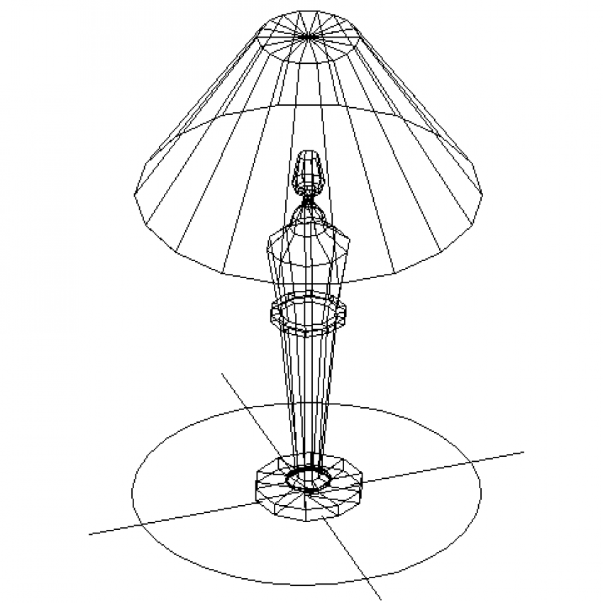 Creative table lamp 2d cad model for bedroom dwg file