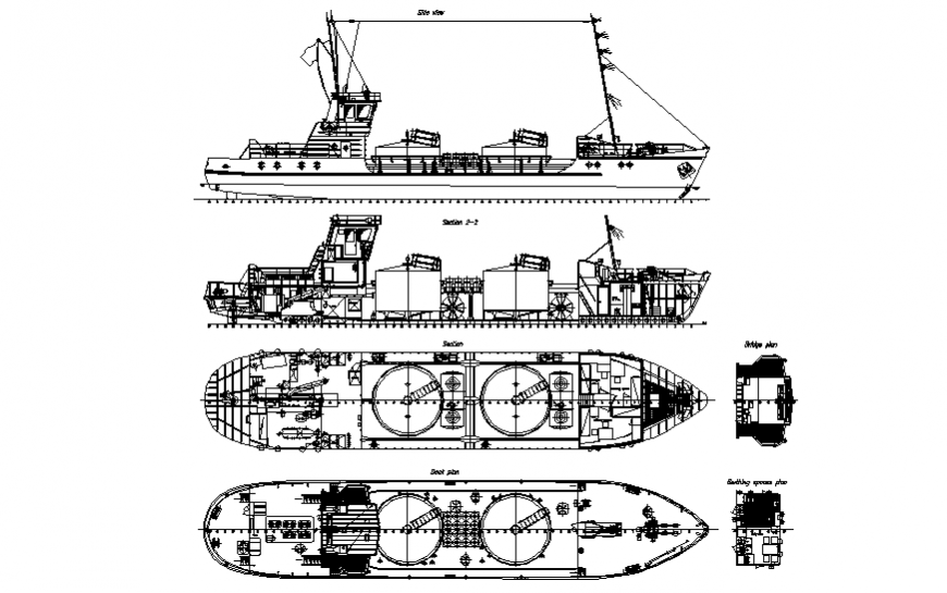 Creative tanker ship all sided section cad drawing details dwg file