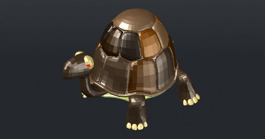 Creative tortoise 3d elevation block cad drawing details dwg file
