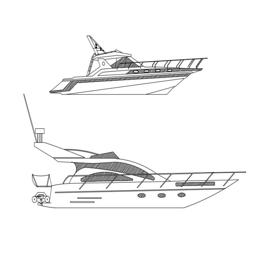 Creative two boats side view cad blocks design dwg file