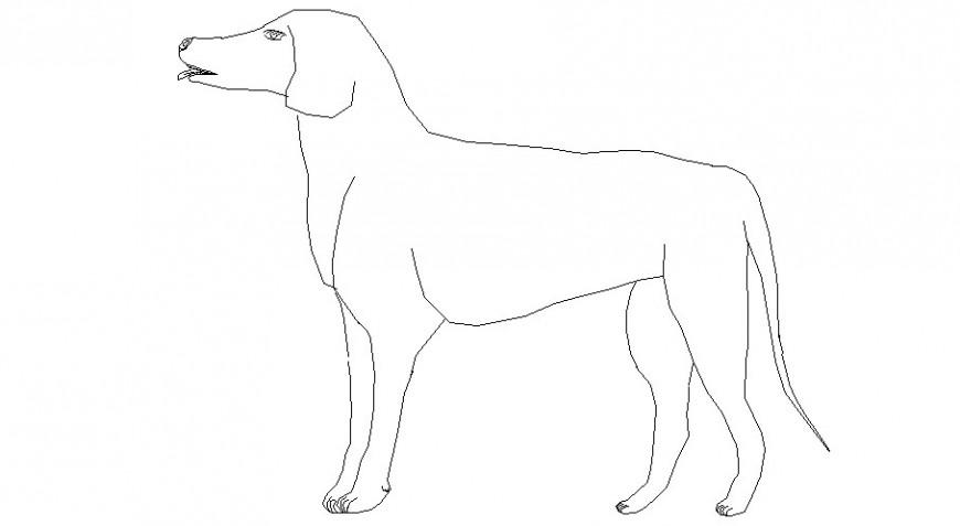 Creative unique 2d dog elevation block cad drawing details dwg file