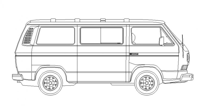 Creative van side elevation block cad drawing details dwg file