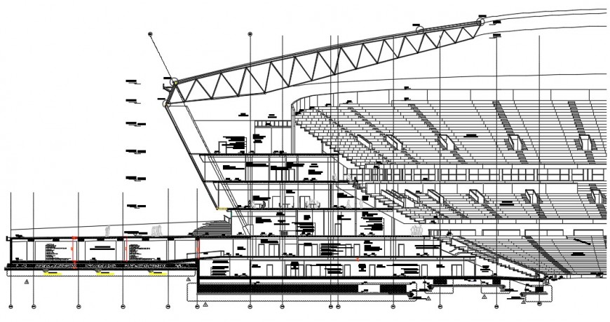 Cricket stadium main section cad drawing details dwg file