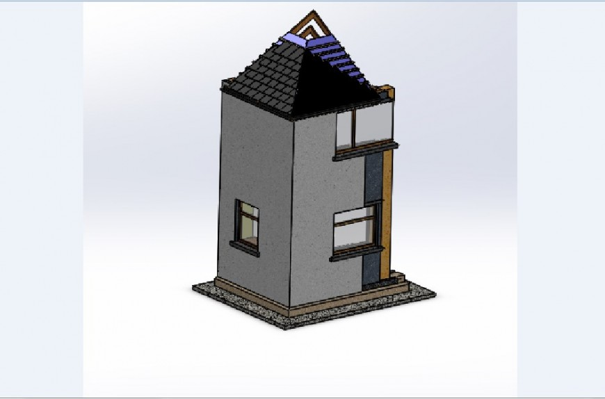 Cross constructive section details of house 3d model jpg file