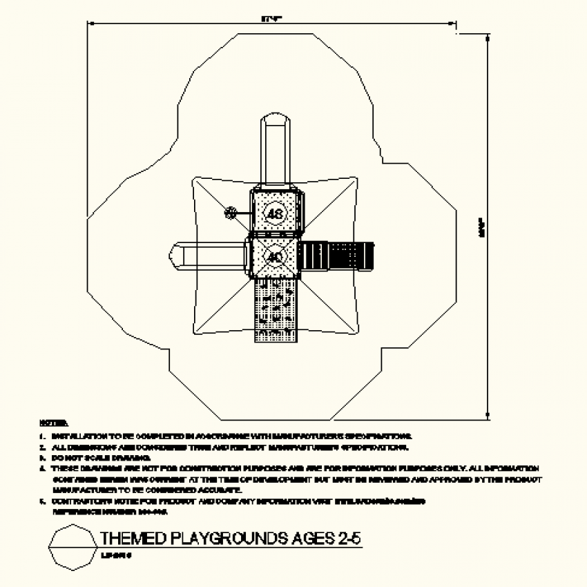 Cross shaped play ground layout plan