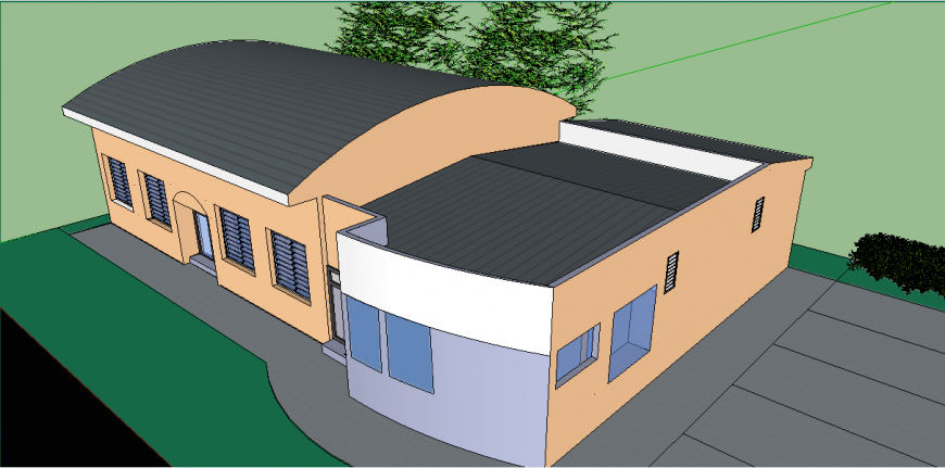 Cross top view elevation drawing details of 3d house dwg file