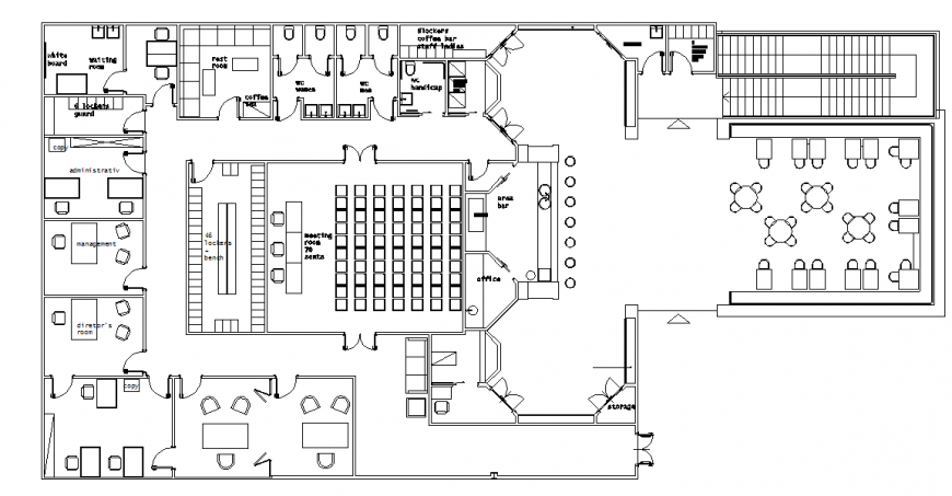 Cultural Center Architectural Plan design in DWG file