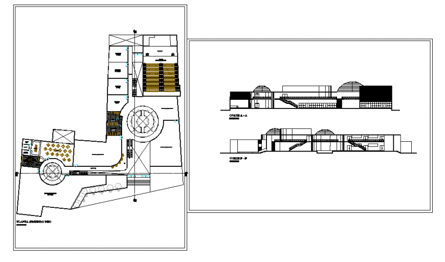 Cultural Center Lay-out & Section & Elevation design