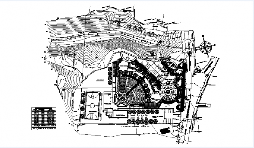 Cultural center site plan, landscaping structure and plan details dwg file