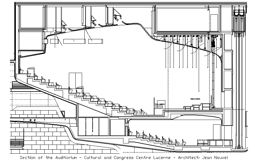 Cultural hall and congress center facade sectional view dwg file