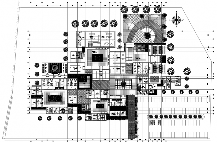 Culture center building general distribution plan cad drawing details dwg file