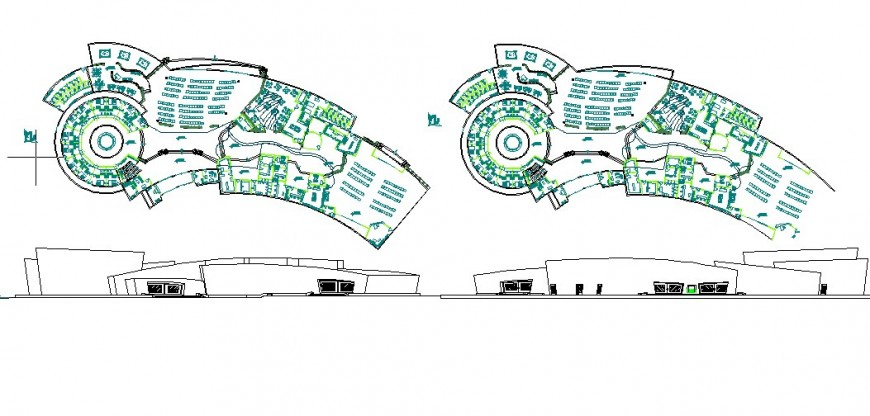 Culture center elevation, first and second floor plan cad drawing details dwg file