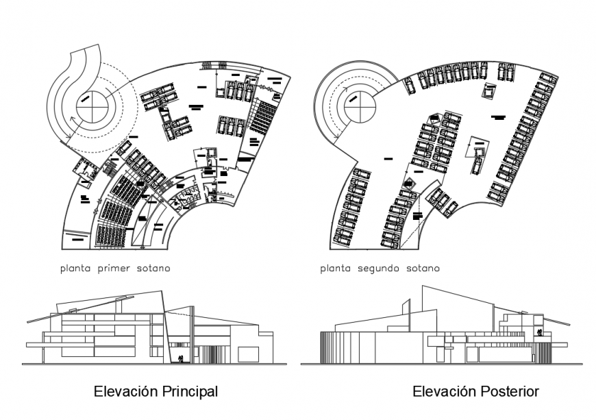 Culture center facade and back elevation and first and second floor plan details dwg file