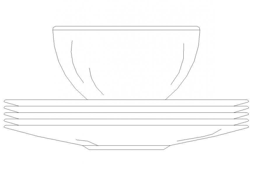 Cup and dish shape elevation with playing area design dwg file