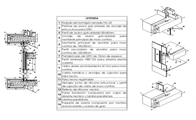 Curtains Ideas Curtain Wall Section : Wall Section Isometric Detail